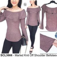 [BLOUSE] BAJU BRANDED MURAH SO CLAIR MARLED KNIT OFF SHOULDER BELLSLEEVE TOP