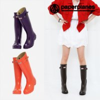 [Paperplanes] 2016 NEW Womens Waterproof Rubber Rain Boots Colorful/PP1193 Dark Olive/Purple/Violet