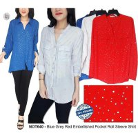 [KEMEJA] BAJU BRANDED MURAH NOTATIONS BLUE GREY RED EMBELLISHED POCKET ROLL