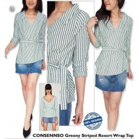 [BLOUSE] BAJU BRANDED MURAH CONSENSO STRIPED VNECK MINT BLOUSE ORI PREM