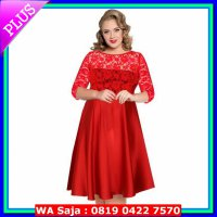 Dress Dress Brokat/Lace Big Size Jumbo XXXXXXL Kode: 0912 Red
