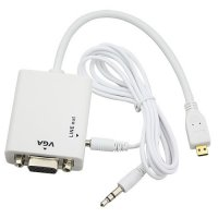 HD Conversion Cable Micro HDMI to VGA with Audio Output - HD009 - White