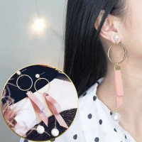 ANTING 0292DBr Fabric Ribbon Bowknot Long Style Sweet And Lovely Earrings Pink