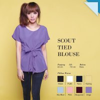 [BLOUSE] CRG162203 - SCOUT TIED BLOUSE POLOS TIED FRONT TIED TOP O NECK LOOSE