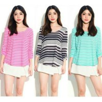 [BLOUSE] FOREVER21 COMBI STRIPE BLOUSE BRANDED