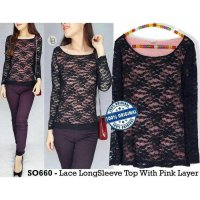 [BLOUSE] BAJU BRANDED MURAH SOLIVER LACE LONGSLEEVE TOP WITH PINK LAYER ORI PRE