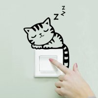 Sticker Wallpaper Dinding Sleeping Cat - Black