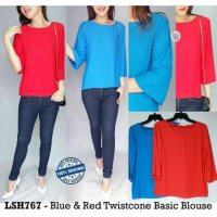 [BLOUSE] BAJU BRANDED MURAH LUSH BLUENRED TWISCONE BASIC BLOUSE ORI PREM