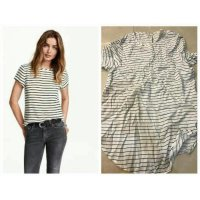 [BLOUSE] BAJU BRANDED MURAH HNM BLOUSE STRIPED BLACK WHITE BRANDED ORI