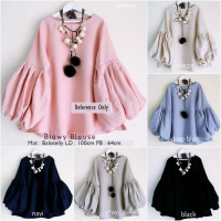 [BLOUSE] BALON PUFF TUNIK BLOUSE BAJU PESTA POLOS BLUSS WANITA ATASAN TOP UNIK