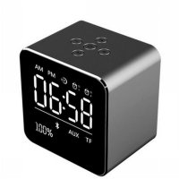 Jam Alarm Mini Clock with Bluetooth Speaker TF Card - V9 - Gray