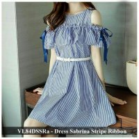 Dress Wanita Murah - Pusat Dress Wanita - VL84DSSRa - dress sabrina stripe ribbon