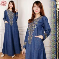 SB Collection Dress Maxi Nindy Gamis Jeans Longdress Wanita