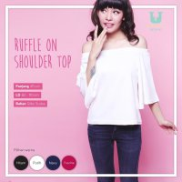[BLOUSE] RUFFLE ON SHOULDER TOP / BAJU SABRINA / ATASAN SABRINA