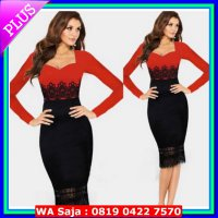 #Midi Dress red black lace midi bodycon dress pesta merah hitam olla gaun brukat