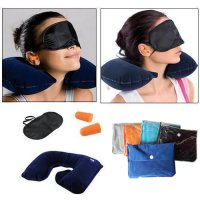 3 In 1 Set Bantal Leher Travel / Travel Pillow Set / Bantal Tiup Penutup Mata & Telinga