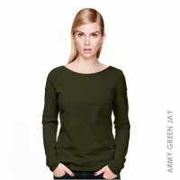 [KAOS] KAOS WANITA LENGAN PANJANG WOMEN LONG SLEEVE (ARMY GREEN JAY)