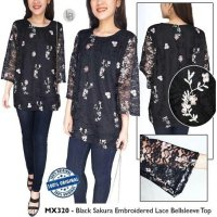 [BLOUSE] BAJU BRANDED MURAH MAX BLACK SAKURA EMBROIDERED LACE BELLSLEEVE TOP