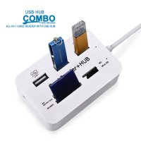 USB Hub Combo Card Reader 3 USB 2.0/SD/TF/M2/MSDuo Port - White
