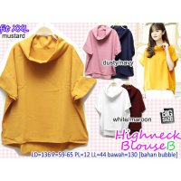 [BLOUSE] HIGHNECK BLOUSE B ATASAN POLOS BASIC SUPER BESAR JUMBO BIG SIZE XXL 2L