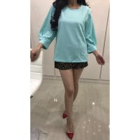 [BLOUSE] BAJU BRANDED WANITA MURAH WHITE MODE GREEN BALON SLEEVE BLOUSE