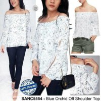 [BLOUSE] BAJU BRANDED MURAH SANCTUARY BLUE ORCHID OFF SHOULDER TOP ORI PREM