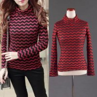 [BLOUSE] IMPORT RED TEXTURE TURTLE NECK BLOUSE ATASAN LENGAN PANJANG HITAM
