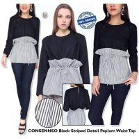 [BLOUSE] BAJU BRANDED MURAH CONSENSO BLACKNWHITE STRIPED BLOUSE ORI PREM
