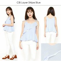 [BLOUSE] COTTON INK LAYER STRIPE BLOUSE BRANDED (ATASAN TANPA LENGAN MURAH)