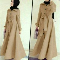 baju muslim wanita Long Coat Lotto Abudhabi Cream