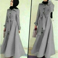 baju muslim wanita Long Coat LottonAbudhabi Gray