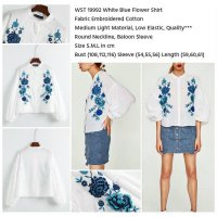 [KEMEJA] WST 19992 WHITE BLUE FLOWER SHIRT