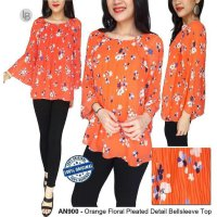 [BLOUSE] BAJU BRANDED MURAH A.N.A ORANGE FLORAL PLEATED DETAIL BELLSLEEVE TOP
