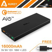 Aukey Power Bank 2 Port 2.4A 16000mAH QC2.0 And AiPower - Black