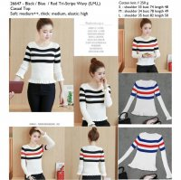 [BLOUSE] ATASAN CEWEK, BLOUSE RAJUT, COTTON KNIT, PUTIH LENGAN PANJANG, STRIPES