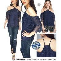 [BLOUSE] BAJU BRANDED MURAH WHBM NAVY TRIED LACE CUT SHOULDER TOP