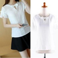 [BLOUSE] IMPORT RUFFLE BOW WHITE BLOUSE ATASAN PITA PUTIH KATUN COTTON