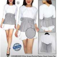 [BLOUSE] BAJU BRANDED MURAH CONSENSO RUCHED WHITE STRIPED BLOUSE ORI PREM