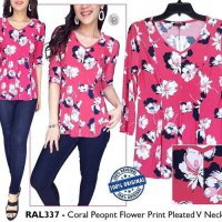 [BLOUSE] BAJU BRANDED MURAH ROZ ALI PINK PEONY FLOWER PRINT PELATED VNECK TOP