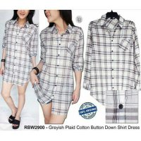 [KEMEJA] BAJU BRANDED MURAH RAINBOW GREYISH PLAID COTTON BUTTON DOWN SHIRT DRES