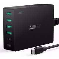 Aukey Charger USB 4 Port+2 Port Type C 60W QC3.0 And AiPower - PA-Y6 - Black