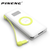 Pineng Qi Wireless Charging Power Bank Built-in Micro USB Cable 10000mAh QC3.0 - PN-888 - White