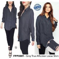 [BLOUSE] KEMEJA BRANDED MURAH FREE PEOPLE GREY LOOSE BLOUSE HAMIL