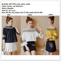 [BLOUSE] BAJU ATASAN SABRINA OFF SHOULDER WANITA KOREA IMPORT BLUE WHITE YELLOW