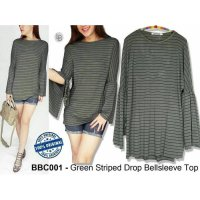 [BLOUSE] BAJU BRANDED MURAH BARBECUE GREEN STRIPED DROP BELLSLEEVE TOP ORI PREM