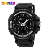 SKMEI 1040 Military & Sporty / Jam Tangan Dual Time - Strap Resin S-SHOCK (WHITE)