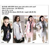 [BLOUSE] LONG BLOUSE DRESS KEMEJA PUTIH HITAM BAJU WANITA KOREA IMPORT W/ SCARF