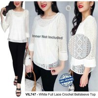 [BLOUSE] BAJU BRANDED MURAH VILLIA WHITE FULL LACE CROCHET BELLSLEEVE TOP