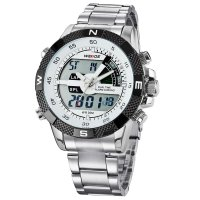 Weide Japan Quartz Stainless Strap Men LED Sports Watch 30M Water Resistance - WH1104 - White