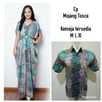 Cj collection Batik couple 2in1 Dress maxi panjang gamis kaftan wanita jumbo long dress dan atasan kemeja pria dewasa jumbo shirt Yulisa M-XL